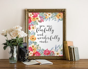 Fearfully and wonderfully made, Christian nursery wall art print, scripture art, Bible verse nursery print, Nursery wall art christian BD986