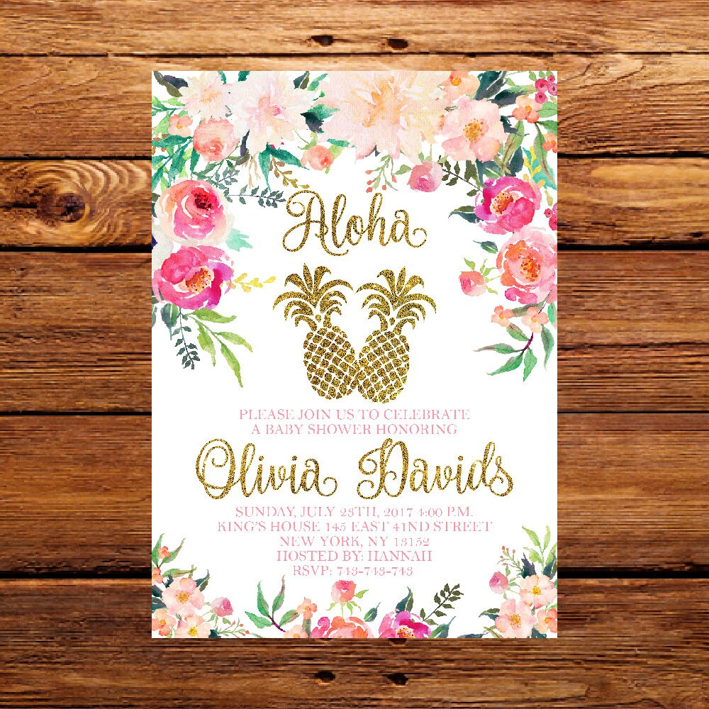 Pineapple Baby Shower Invitation Tropical Aloha Baby Shower