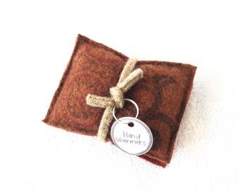 Pocket Hand Warmers Wool RUST ORANGE & BROWN Eco Friendly Gift Portable Heat Reusable Handwarmers Coworker Gift Under 10 by WormeWoole