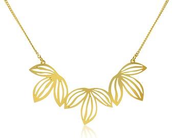 Leaf necklace, Gold Leaf Necklace, Leaf Pendant Necklace, Leaf Jewelry, Gold Plated Jewelry, Long Gold Chain, Long Necklace, Boho Necklace