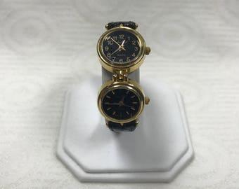 a092 Vintage Original Louis Weil Quartz Japan Dual Dial Elegant Wrist Watch