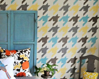Houndstooth Wall Stencil - DIY Modern Mid Century Wallpaper Painting - Large Custom Wall Mural with Classic Wall Designs