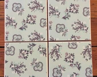 Blue Paisley Coasters- Set of 4 Ceramic Coasters