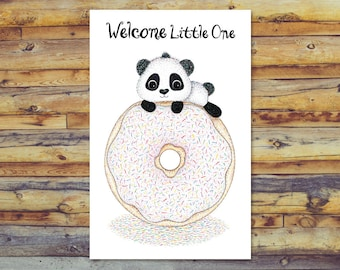 Panda Baby Shower Card, Printable New Baby Card, Digital Download, Welcome Baby, Instant Download, Baby Boy Card, Baby Girl Card