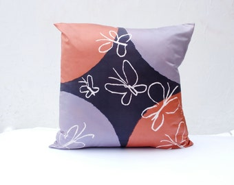 "Vintage Vera PILLOW Cover in Silk 21""- Pillow Sham, Throw Pillow, Silk Pillow- Copper and Purple Butterfly- Home Decor (Ready to Ship)"