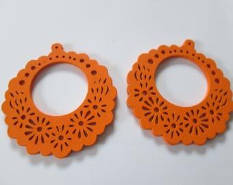 prints 2 wood flowers, 57 mm orange wood beads