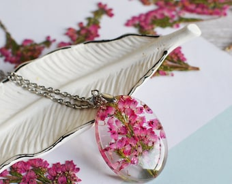 Real flower jewelry - Mom gift gift for her pressed flower pink heather flower nature Necklace- flower jewelry, Mothers day necklace