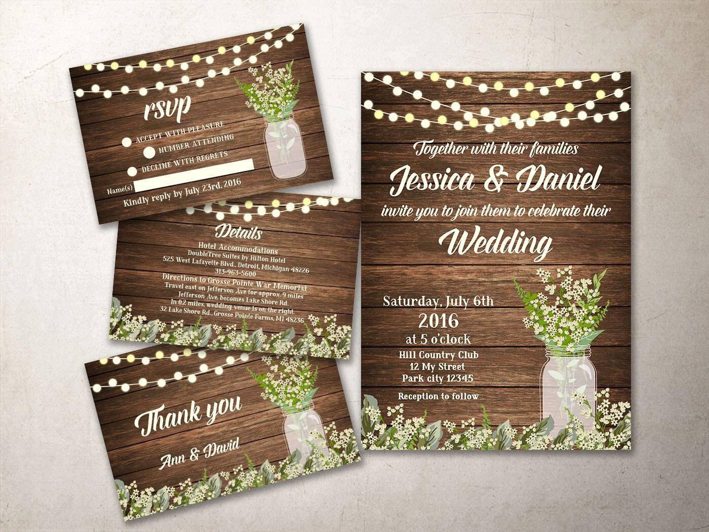Rustic Wedding Invitation Kit Printable Fall Wedding
