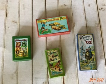 Victorian Style Game Boxes Set ~ dolls house toys ~ Victorian dolls house ~ 12th scale