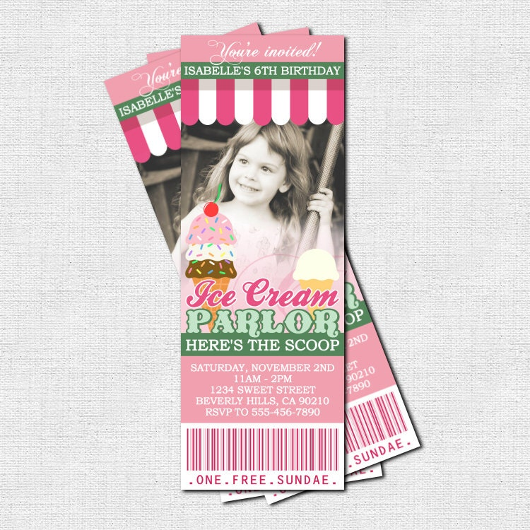 ICE CREAM PARLOR Ticket Invitations Birthday Party Ice Cream
