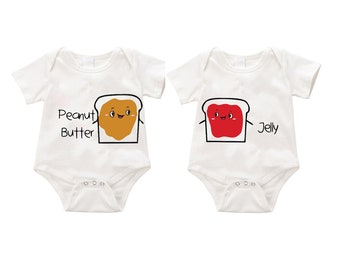 Peanut butter and Jelly  dual  Onesie Romper Bodysuit