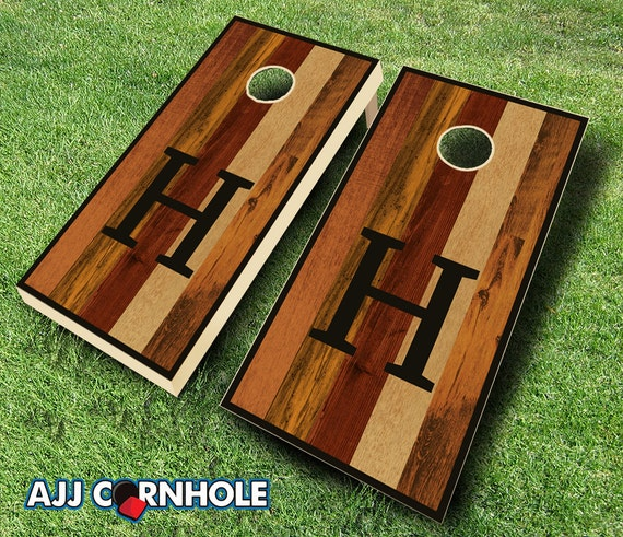 Multicolored Monogram Stained Cornhole Set with Bags