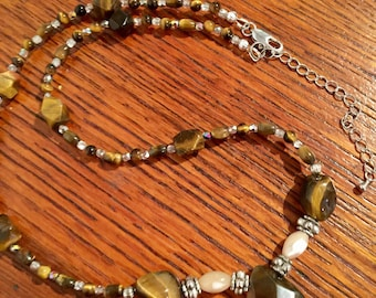 Beaded tigers eye , pewter and mother of pearl necklace 20 inches