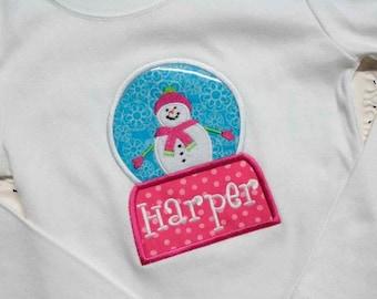 INSTANT DOWNLOAD Snowman Snowglobe Machine Embroidery Applique Design