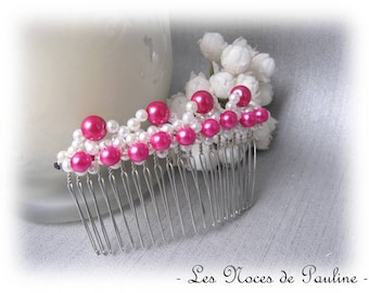 Fuchsia pink wedding comb white silver beads