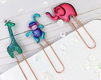 Planner Paper Clips Set of 3 - Zoo Animal Planner Paper Clips