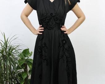 1950s Black A-Line Embellished Evening Dress Size UK 10, US 6, EU 38