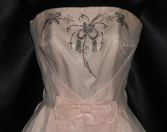 Vintage 1960's Chiffon Over Taffeta Beaded Bodice Strapless Pageant / Prom Gown Dress XS - 30-32