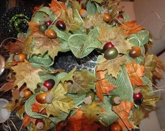 Leaves and Acorns Fall Wreath
