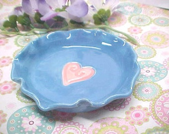 Caribbean Blue Pottery Bowl - Heart Design - Fluted Edges - Trinket Dish -Jewelry Holder - Handmade Ring Dish