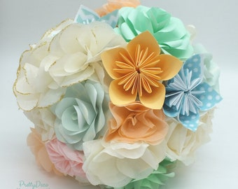 Origami soft colors wedding bouquet / Ivory mint blue peach bridal bouquet
