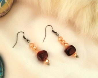 Red Jasper style drop earrings with gold beading