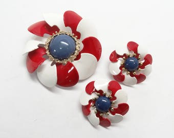 Vintage Red, White, Blue 1960s Enamel Brooch and Clip-On Earring Set