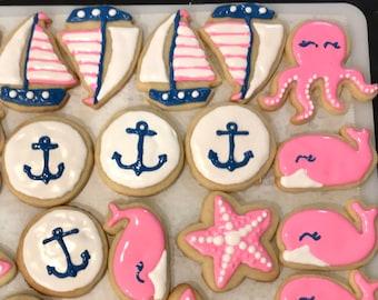 Nautical Sugar Cookies, Pink, Navy and White