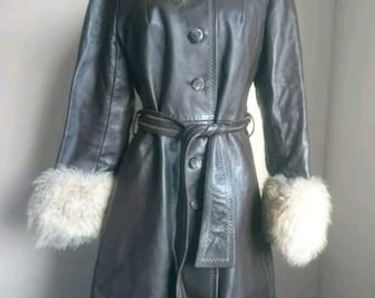 100% leather and shearling long coat,  UK 10-12 brown, winter warm