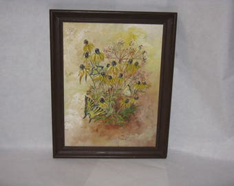 Original oil painting on canvas board flowers black eyed susans butterfly framed