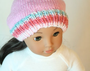 """Slouch Beanie, 18 inch Doll Hat, fits 18"""" Doll Clothes, Hand Knit Doll Hat, 18 inch Doll Hat, Girl American Doll Clothes"""