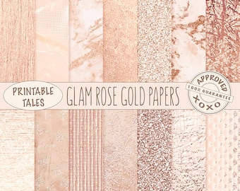 Rose Gold digital papers, Metallic Page, Glam watercolor download, Raffia texture, Glitter Background, Marble planner paper, Shiny Foil