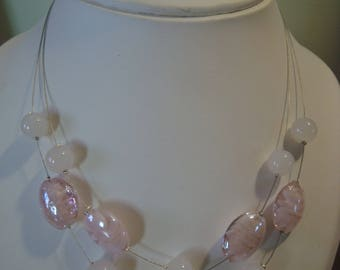 Double strand necklace fancy light pink