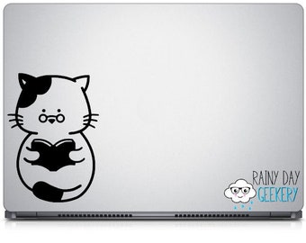 Reading Cat Vinyl Decal - Cat Decal, Reading Decal, Gift for Reader, Gift for Cat Lover, Nerdy Cat, Nerdy Decal, Nerdy Decals, Book Gift