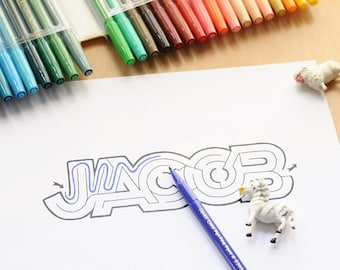 JACOB Name Maze / Instant DOWNLOAD Printable PDF / Personalized Activity for All Ages / Hand-drawn
