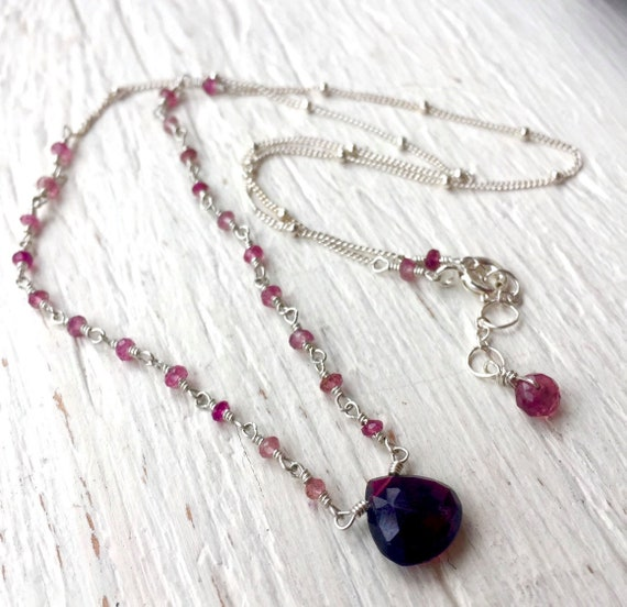 Pink Tourmaline Briolette Necklace, Petite Sterling Silver, Hand Wire Wrapped, Minimalist Jewelry, Gift For Her, Holiday, October Birthstone