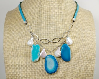 Sky blue Agate slice natural white freshwater pearls on genuine blue leather Blue Agate multistrand caskade necklace