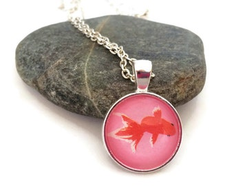 Teach definition necklace teachers necklace teach red koi fish necklace japanese art pendant red goldfish with pink background origami mozeypictures Gallery
