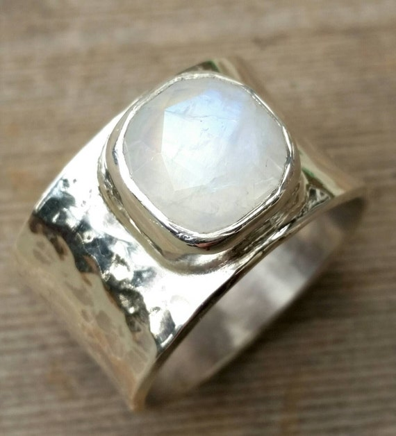 Moonstone Ring,  Wide Moonstone Sterling Silver Ring, Rose Cut Moonstone Big Chunky Ring, Rainbow Moonstone Wide Ring, Recycled Silver