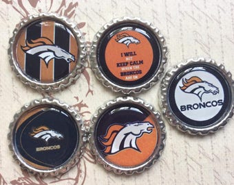 SET of 5 - SET 3 Denver Bronco's Bottle Caps For Pendants, Hairbows Hair Bow Centers - Ready to use