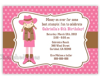 Cowgirl with Paisley or Dots Background Birthday Invitation (You Print)