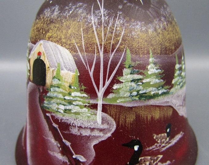 "Fenton Art Glass - CHRISTMAS STAR Series 1997 ""The Way Home"" Ruby HP Bell"