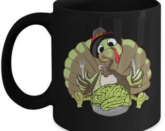 Zombie Coffee Mug, Zombie Eat Brains, Thanksgiving Day Mug, Turkey Coffee Mug, I Love Zombies, Thanksgiving Mug, Thanksgiving Gift