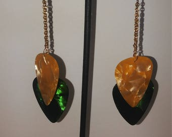 Pearl like Green and Pearl like Gold guitar pick drop earrings using gold filled chains and findings