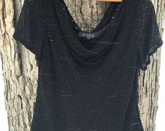 vintage off the shoulder black beaded sparkly top