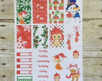 Christmas Critters Weekly Layout Planner Stickers for Classic Size Happy Planner F493