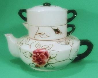 Teapot Vintage Porcelain Stack Creamer & Sugar, Set includes Teapot, lid, cream, sugar bowl
