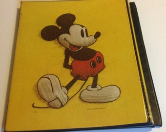 Vintage Mickey Mouse 3 ring Binder Clipboard Disney