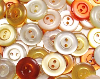 """The Warmer Color Mix: 3/4"""" (19mm) Button Assortment - Set of 50 New / Unused Matching Style Buttons"""