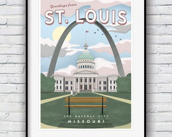 St Louis Poster, Gateway Arch, St Louis Skyline, Travel Poster, City Prints, St Louis Arch, Cityscape, St Louis Old Courthouse, St Louis Art
